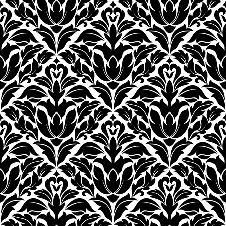Seamless damask pattern in white and black colors for background design Stock Vector - 13098048