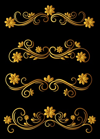 Vintage floral elements and embellishments set for ornate Vector