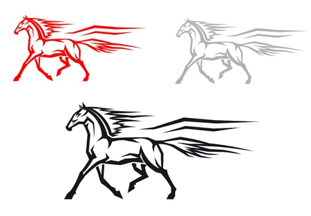 Fast mustang horse in three variations for mascot or emblem design Vector