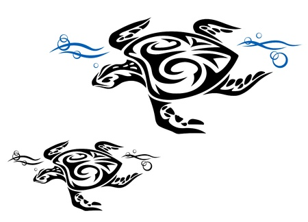 tortoise: Turtle in ocean water in tribal style for tattoo design Illustration