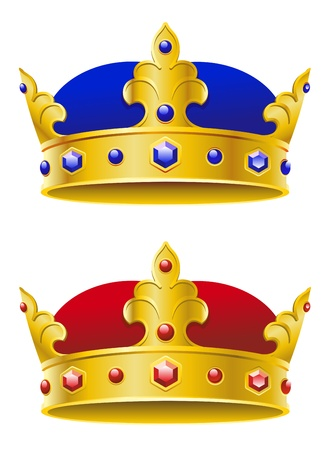 corona rey: Coronas reales aisladas sobre fondo blanco para el diseño de la heráldica