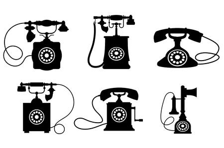 telefono antico: Set di vecchi telefoni d'epoca isolato su sfondo bianco per la progettazione delle telecomunicazioni