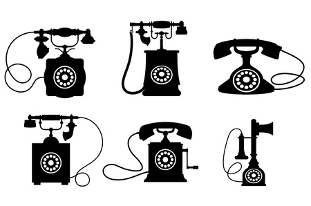 phone number: Set of old vintage telephones isolated on white background for telecommunication design Illustration