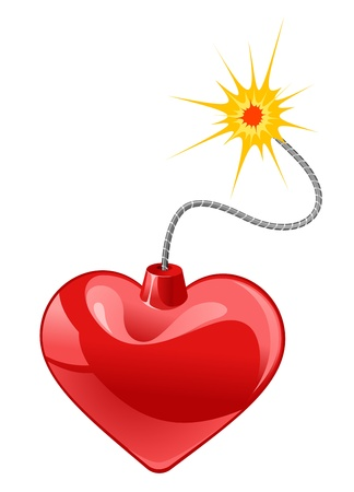 Red heart bomb isolated on white background Vector