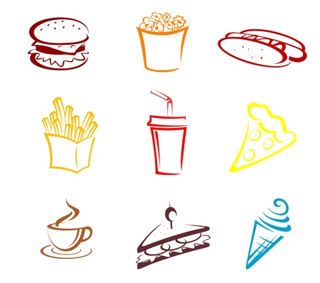 eating fast food: Fast food and snack symbols in cartoon style