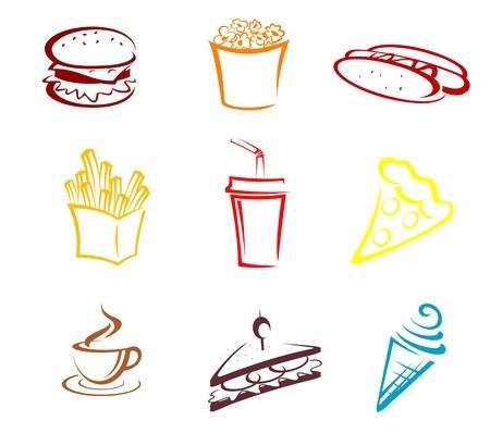 comida americana: La comida r�pida y snacks s�mbolos en el estilo de dibujos animados Vectores