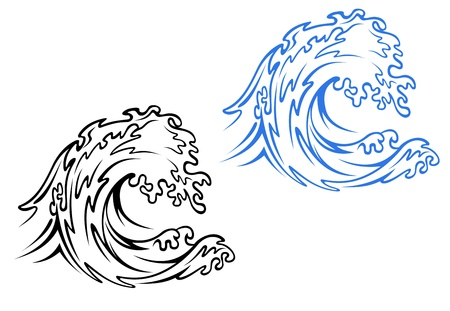 Big sea wave in black and blue variations in cartoon style Vector