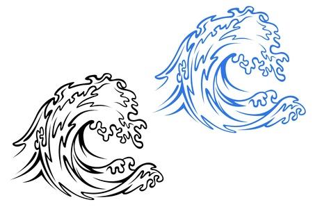 tide: Gran ola de mar en las variaciones de color negro y azul de estilo de dibujos animados