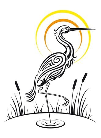 Heron bird on the lake for environment design  イラスト・ベクター素材