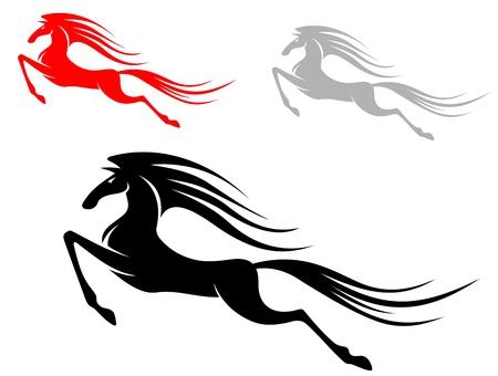 hooves: Veloce cavallo mustang in esecuzione isolato su sfondo bianco Vettoriali