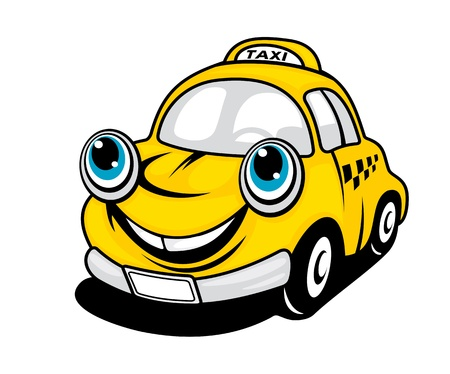 Cartoon taxi car with smile for transportation design Vector