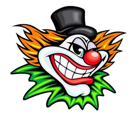 buffoon: Angry circus clown or joker in cartoon style