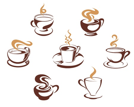 Coffee and tea cups for morning breakfast concept design Vector