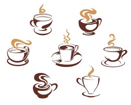 Koffie en thee bekers voor 's morgens het ontbijt conceptontwerp
