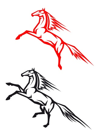Two jumping horses isolated on white background for equestrian sport design Vector