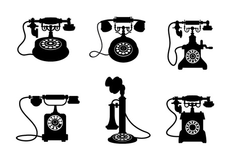 call history: Set of retro and vintage telephones isolated on white background Illustration