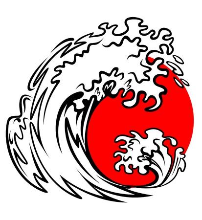 Vague de tsunami et le soleil rouge sur la mer de tempête Vecteurs
