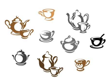 chinese tea pot: Tea cups and teapots symbols for restaurant or cafe design