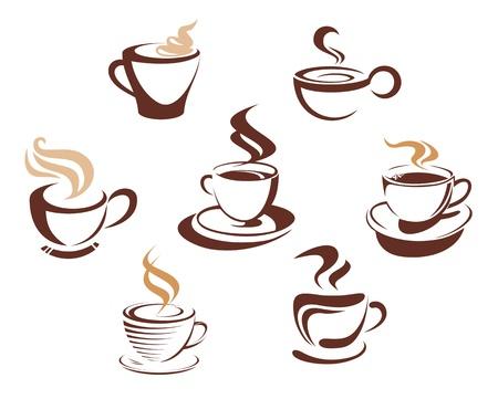 tazas de cafe: El café y tazas de té símbolos para el diseño de la comida rápida