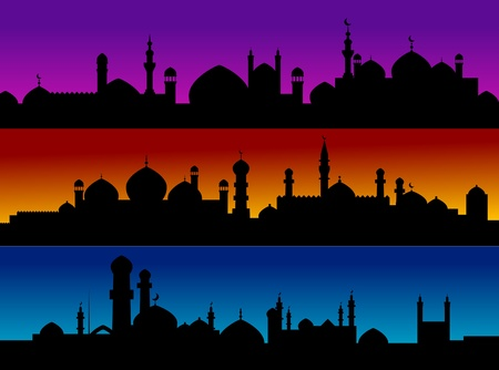 europe eastern: Mosque cityscapes on evening sky for design