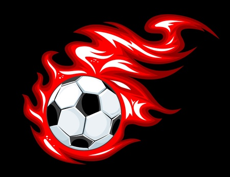 Football and soccer ball in fire flames for sports design Vector