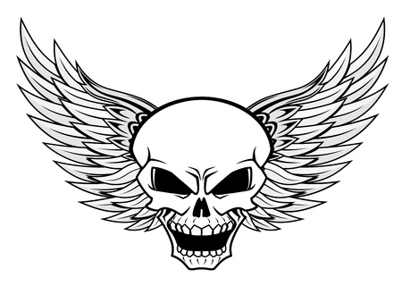 Skull with angel wings for tattoo or mascot design Vector