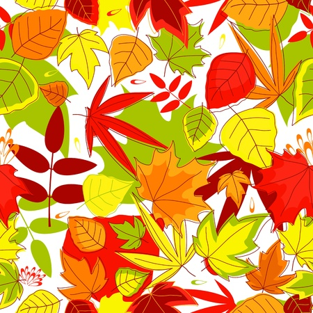 Autumnal seamless pattern with yellow, red, green and red leaves Vector