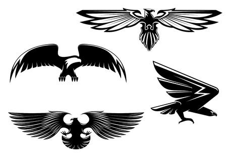 aguila volando: Conjunto de �guilas her�ldica, halcones y halcones para el dise�o de tatuaje o mascota