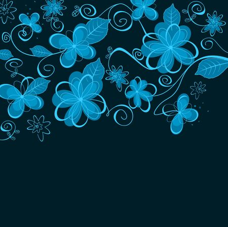 ornamental scroll: Abstract blue floral design for wallpaper or background design