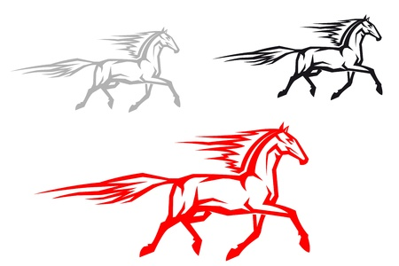 Running horse in three color variations for equestrian sports Vector
