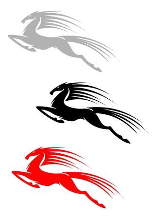 mustang horses: Jumping mustang symbol isolated on white background for mascot or emblem design