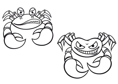 crabby: Danger cartoon crabs with big claws for mascot design  Illustration