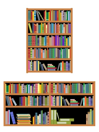 Bookshelf with books isolated on white background for education or interior design Illustration