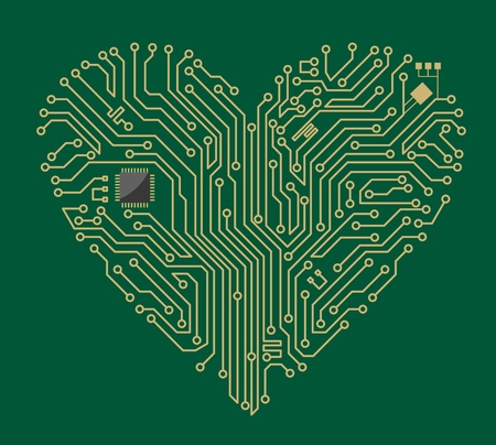 electronic components: Motherboard computer heart for love concept design
