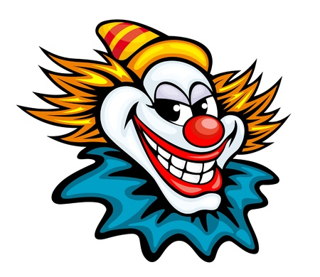 buffoon: Fun circus clown in cartoon style for humor entertainment design Illustration
