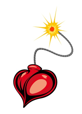 Heart bomb in cartoon style for love terror concept Stock Vector - 13523204