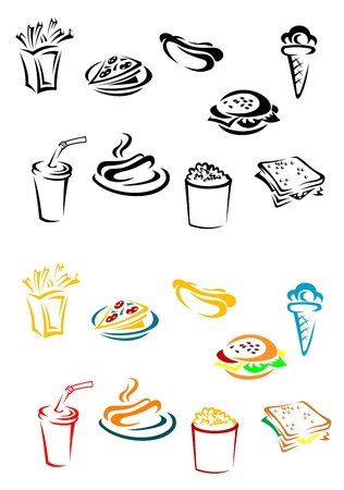 fried potatoes: Fast food elements set in color and wb variations Illustration