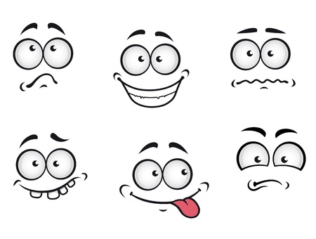 Cartoon emotions faces set for comics design Vector