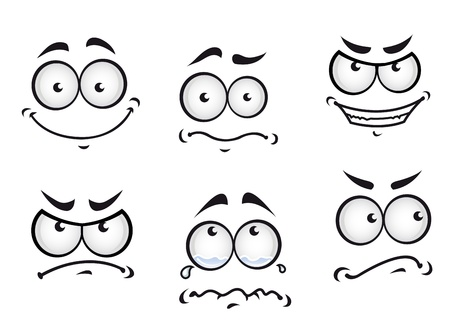 eye drawing: Cartoon comics faces set for humor or fun design