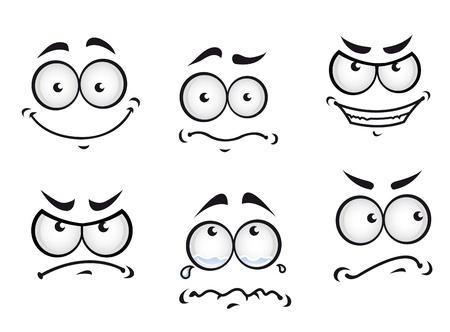 occhi tristi: Fumetti Cartoon facce impostato per l'umorismo o di design divertente Vettoriali