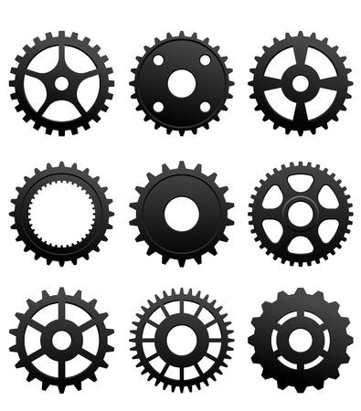 Ritzel und Räder-Set auf weißem Hintergrund für die Gestaltung von Maschinen isoliert