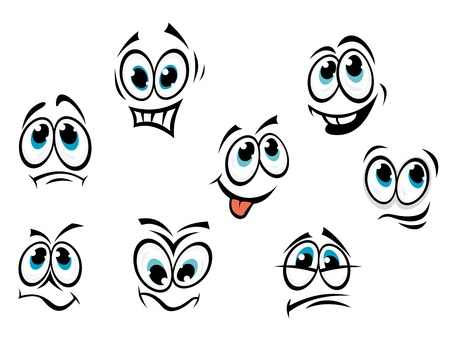 unhappy family: Comics cartoon faces set with different expressions