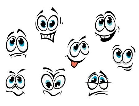 occhi tristi: Fumetto Comics affronta impostata con diverse espressioni
