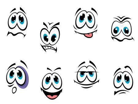 caricatura: De la historieta se enfrenta a configurar con diferentes expresiones aisladas sobre fondo blanco