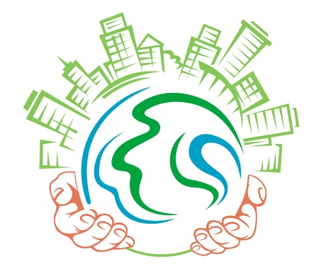 harmony idea: Earth globe in people hands for ecology concept Illustration