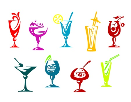 Alcohol and juice cocktails set for beverages design Vector