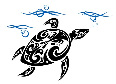 Turtle in ocean water for tattoo design Vector