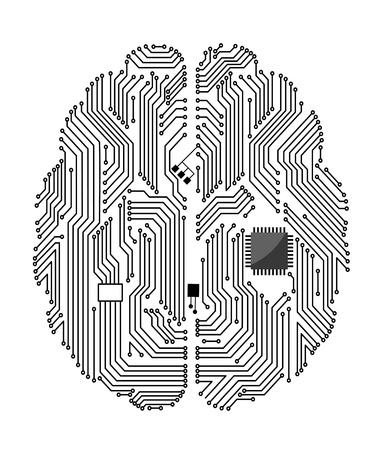 Madre del cerebro en el fondo blanco para el diseño de concepto de tecnología Ilustración de vector