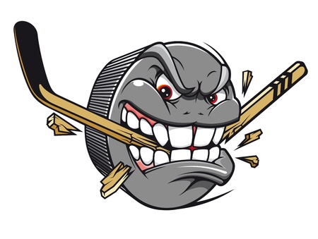 Sport mascot - hockey puck bites and breaks hockey stick Vector
