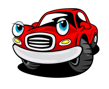 Red funny cartoon car isolated on white background for transportation design Vector